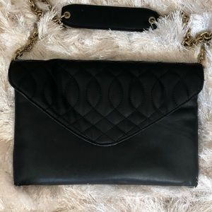 J Crew Black Quilted Leather Small Shoulder Bag